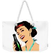 Pop Art Girl With Soda Bottle Weekender Tote Bag