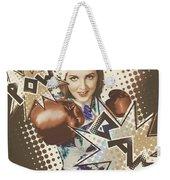 Pop Art Photo Illustration. Cartoon Comic Boxer Weekender Tote Bag by Jorgo Photography - Wall Art Gallery