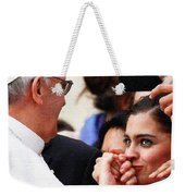 Pope Francis And Woman Painting  Weekender Tote Bag