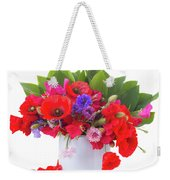 Poppy With Sweet Pea And Corn Flowers On White Weekender Tote Bag