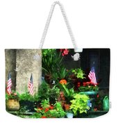 Porch With Geraniums And American Flags Weekender Tote Bag