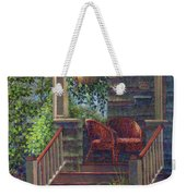 Porch With Red Wicker Chairs Weekender Tote Bag