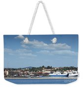 port with ferry boats Corfu Greece Weekender Tote Bag