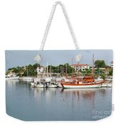 Port With Sailboat And Fishing Boat Weekender Tote Bag
