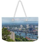 Portland Cityscape With Mount Saint Helens View Weekender Tote Bag
