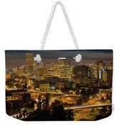 Portland Downtown Cityscape And Freeway At Night Weekender Tote Bag