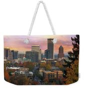 Portland Downtown Cityscape During Sunrise In Fall Weekender Tote Bag