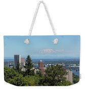 Portland Downtown Cityscape With Mount Saint Helens View Weekender Tote Bag