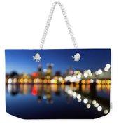 Portland Downtown Skyline Blue Hour Blurred Defocused Bokeh Weekender Tote Bag