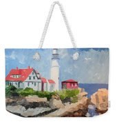 Portland Headlight By The Sea Weekender Tote Bag