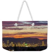 Portland Oregon City Skyline Sunset Panorama Weekender Tote Bag