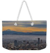 Portland Oregon Cityscape And Mount Hood At Sunrise Weekender Tote Bag