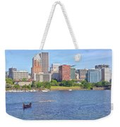 Portland Oregon Skyline And Rowing Boats. Weekender Tote Bag