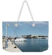 Porto Carras Harbor With Yacht And Resort Weekender Tote Bag
