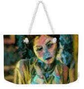 Portrait Colorful Female Wistfully Thoughtful Pastel Weekender Tote Bag