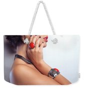 Portrait Of A Beautiful Woman Wearing Jewellery Weekender Tote Bag