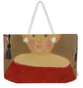 Portrait Of A Blonde Boy With Red Dress With Whip Weekender Tote Bag