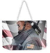 Portrait Of A Fire Fighter Weekender Tote Bag