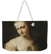 Portrait Of A Girl With A Dog Weekender Tote Bag