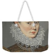 Portrait Of A Lady Head And Shoulders In A Lace Ruff Weekender Tote Bag