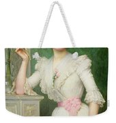 Portrait Of A Lady Holding A Fan Weekender Tote Bag