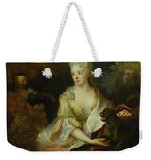 Portrait Of A Lady Seated In A Landscape With Her Pet Dog And A Monkey Weekender Tote Bag
