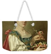 Portrait Of A Lady With A Flower Basket Weekender Tote Bag