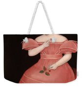 Portrait Of A Rosy Cheeked Young Girl In A Pink Dress Weekender Tote Bag