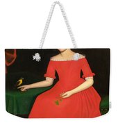 Portrait Of A Winsome Young Girl In Red With Green Slippers Dog And Bird Weekender Tote Bag