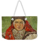 Portrait Of A Woman In A Red Scarf Weekender Tote Bag