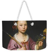 Portrait Of A Young Girl As A Shepherdess Holding A Sprig Of Flowers Weekender Tote Bag