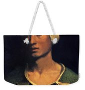Portrait Of A Young Man With A Dog And A Cat Weekender Tote Bag