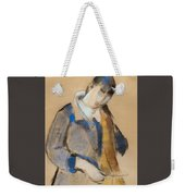 Portrait Of A Young Woman Combing Her Hair Weekender Tote Bag