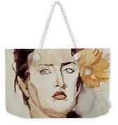 Portrait Of A Young Woman With Flower Weekender Tote Bag