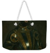 Portrait Of Alfonso D'avalon -  Marquis Of Vasto - In Armor With A Page Weekender Tote Bag