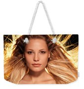 Portrait Of Beautiful Woman Face With Glowing Golden Blond Hair Weekender Tote Bag