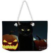 Portrait Of Black Cat With Pumpkin On Halloween Weekender Tote Bag by Sergey Taran