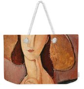 Portrait Of Jeanne Hebuterne In A Large Hat Weekender Tote Bag by Amedeo Modigliani