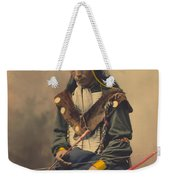 Portrait Of Oglala Sioux Council Chief Bone Necklace Weekender Tote Bag