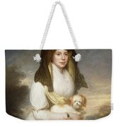 Portrait Of Queen Charlotte Three-quarter Length In A White Dress A Yellow Shawl And Black Mantilla Holding A Maltese Dog Sir Henry William Beechey Weekender Tote Bag