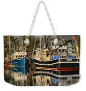 Portrait Of The Ucluelet Trawlers Weekender Tote Bag