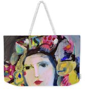 Portrait Of Woman With Flowers Weekender Tote Bag