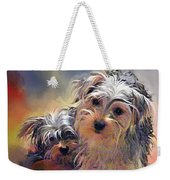 Portrait Of Yorkshire Terrier Puppy Dogs Weekender Tote Bag