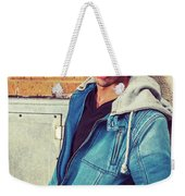 Portrait Of Young Man In New York Weekender Tote Bag