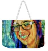 Portrait Painting In Acrylic Paint Of A Young Fresh Girl With Colorful Hair In A Library With Books  Weekender Tote Bag