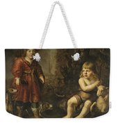 Portraits Of Two Boys In A Landscape One Dressed As A Hunter The Other St As John The Baptist Weekender Tote Bag