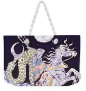 Poseidon Rides The Sea On A Moonlight Night Weekender Tote Bag by Carol  Law Conklin