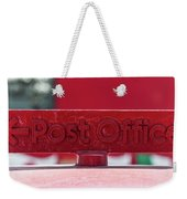 Post Office Arrowed Direction Red Sign On Top Of Post Box Weekender Tote Bag