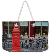 Postbox And Bicycles In Front Of The Diamond Museum In Bruges Weekender Tote Bag