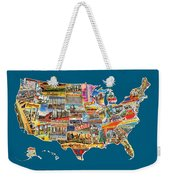 Postcards Of The United States Vintage Usa All 50 States Map Weekender Tote Bag